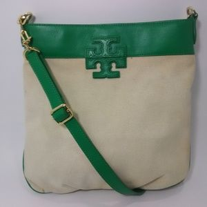 TORY BURCH Emerald T Stacked Canvas Crossbody Bag